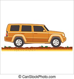brown suv car off-road 4x4 icon colored