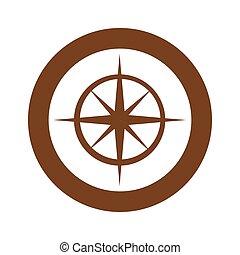brown symbol compass star icon