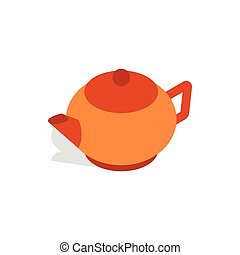 Brown teapot icon, isometric 3d style