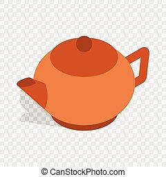 Brown teapot isometric icon