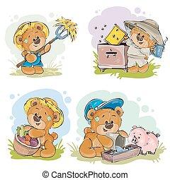 Brown teddy bear farmer, beekeeper