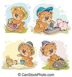 Brown teddy bear farmer