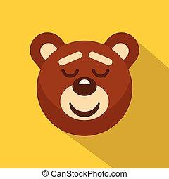 Brown teddy bear head icon, flat style