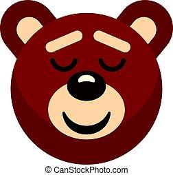 Brown teddy bear head icon isolated