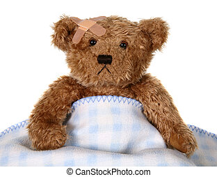Injured Teddy Bear With Bandage and Blanket