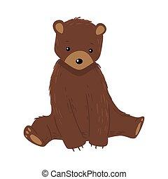 Brown teddy bear sitting and looking ahead vector illustration