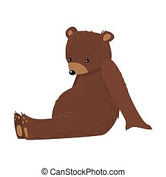 Brown teddy bear sitting and thinking vector illustration