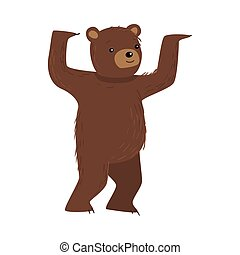 Brown teddy bear standing and dancing vector illustration