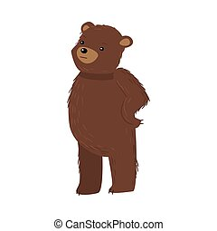 Brown teddy bear standing and feeling thoughtful vector illustration