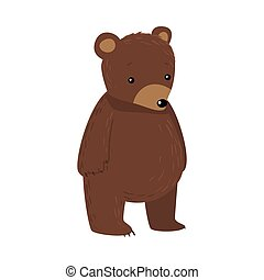Brown teddy bear standing and looking ahead vector illustration