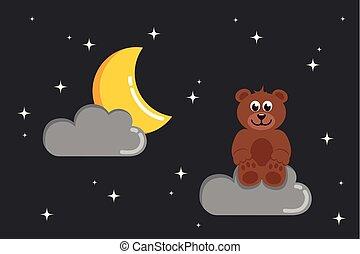 brown teddy bear star night dark sky
