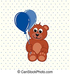 brown teddy bear with blue balloons