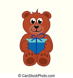 brown teddy bear with blue gift