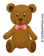 Brown teddy bear with red ribbon