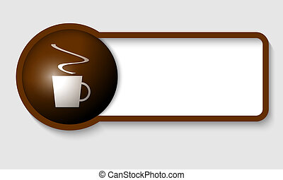 brown text frame and cup of coffee