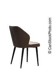 brown textile chair isolated on white background. modern brown stool back view. soft comfortable upholstered chair. interrior furniture element.