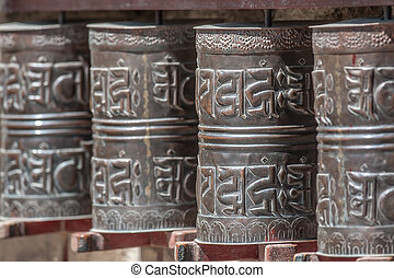 spool - brown Tibetan spool in Himalayas