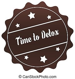 Brown TIME TO DETOX stamp on white background.