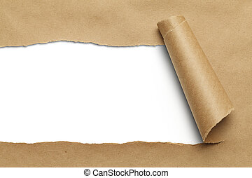 Brown Torn Paper - Brown Package Paper Rolled Up with White...