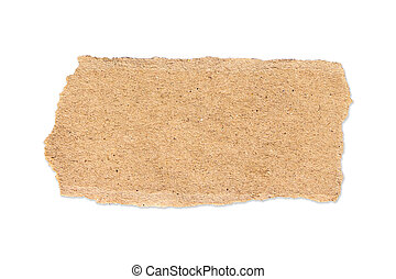 brown torn paper on isolated white with clipping path.