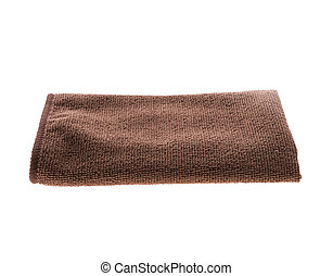 Brown towel folded isolated on white background