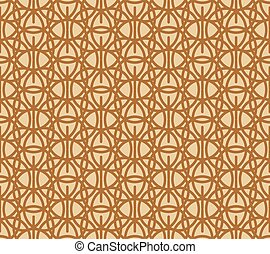 Brown tracery on beige, abstract geometric seamless pattern