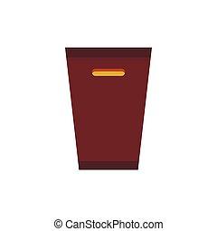 Brown trash bin icon, flat style
