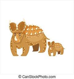 Brown Triceratops Dinosaur Prehistoric Monster Couple Of Similar Specimen Big And Small Cartoon Vector Illustration