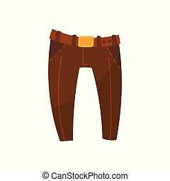 Brown trousers with belt, boys wear vector Illustration on a white background