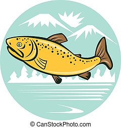 Brown Trout Jumping Circle Cartoon