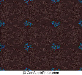 Brown & turquoise floral wallpaper