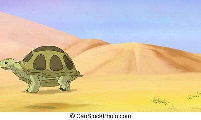 Brown turtle walks through the sandy desert. Handmade 2D animation.