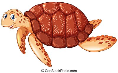 Brown turtle with happy face