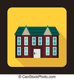 Brown two storey house icon, flat style