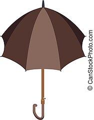 Brown umbrella icon, isometric style