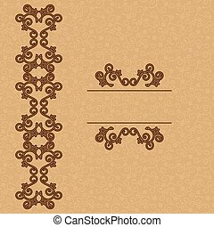 brown vector background with floral ornament