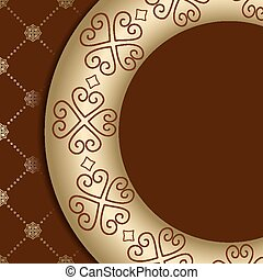 brown vector background with ornament on gold gradient
