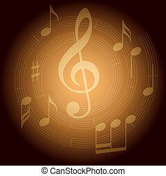brown vector background with spiral music staff and gradient