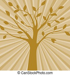 Brown vector illustration of tree silhouette on the abstract background