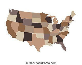 brown vector map of United States