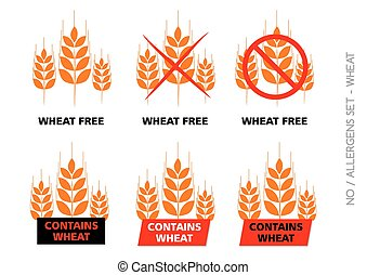 Brown Vector Wheat Free Signs isolated on white background