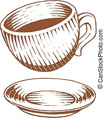 Brown Vectorized Ink Sketch of Coffee Cup Illustration