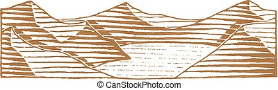 Brown Vectorized Ink Sketch of Mountain Lake Illustration