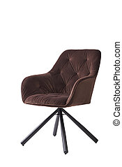 brown velvet armchair isolated on white background. modern brown lounge front view. soft comfortable upholstered chair. interrior furniture element.
