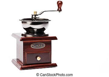 brown vintage coffee grinder on white background