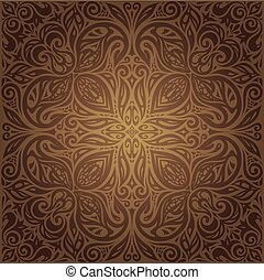 Brown vintage floral background wallpaper mandala design