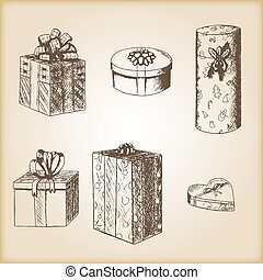 Brown vintage sketch - hand drawn gift boxes.