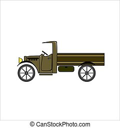 Brown vintage truck in cartoon style on white background.
