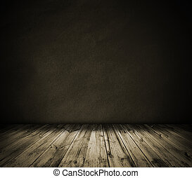 Brown wall and wooden floor interior background