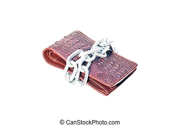 Brown wallet tide with a chain